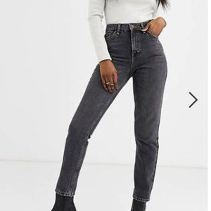 Topshop Premium Mom jeans in Washed Black
